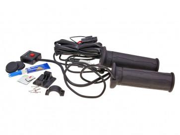 Håndtag med varme Koso sort 130mm for quad, ATV (med Tommelfinger-gas.)