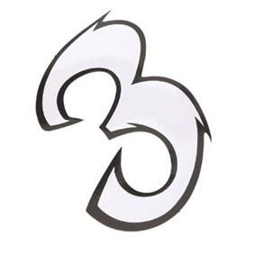 Klistermærke - Sticker Nummer 3 Hvid L13