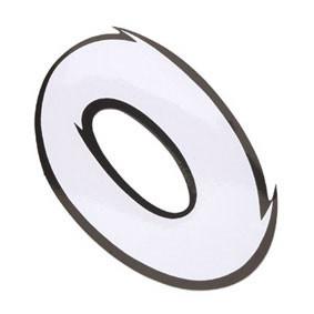 Klistermærke - Sticker Nummer 0 Hvid L 9CM