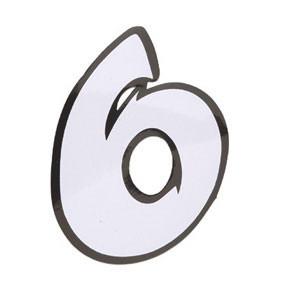 Klistermærke - Sticker Nummer 6 Hvid L 9