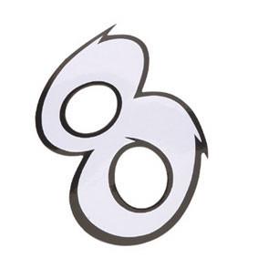 Klistermærke - Sticker Nummer 8 Hvid L 9