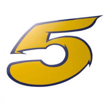 Klistermærke - Sticker Nummer 5 GulL 9