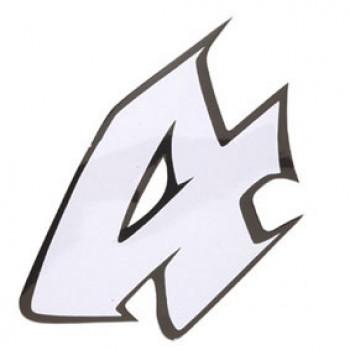 Klistermærke - Sticker Nummer 4 Hvid L13