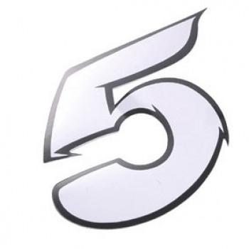Klistermærke - Sticker Nummer 5 Hvid L13