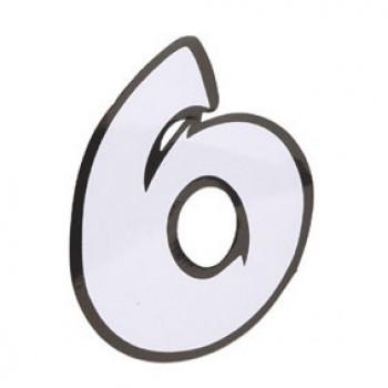 Klistermærke - Sticker Nummer 6 Hvid L13