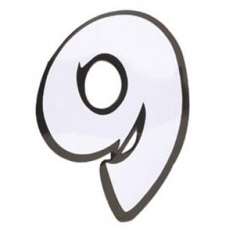 Klistermærke - Sticker Nummer 9 Hvid L13