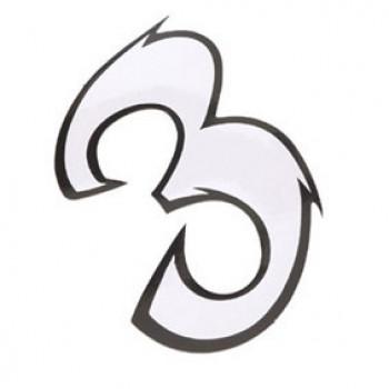 Klistermærke - Sticker Nummer 3 Hvid L 9